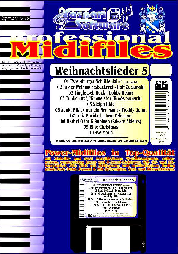 Midifile-Paket Weihnachtslieder 5 - Weihnachtslieder Christmas Carols